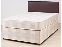 DOUBLE DIVAN BED BASE WITH 9 INCH THICK DEEP QUILT MATTRESS £89 Headboard Optional