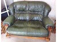 3 seater & 2 seater green leather suite