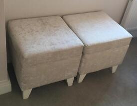 Ottoman seat stool x 2 cream velvet vgc