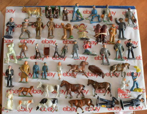 Vintage Manoil Barclay Britains-Lead Figure Lot of 49-Train Soldiers Cows Horses