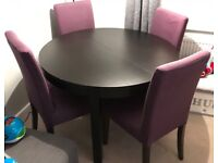 IKEA EXTENDABLE TABLE AND 4 CHAIRS