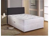 3FT 4FT6 5FT MATTRESS DOUBLE OR KING DIVAN BED FRAME WITH PLAIN HEADBOARD AND STORAGE DRDAWERS