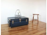 Vintage Metal-bound Travelling Trunk / Coffee Table / Storage Chest