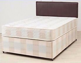 BRAND NEW DOUBLE DIVAN BED BASE WITH SEMI ORTHOPEDIC MATTRESS