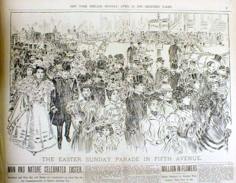 <1897 newspaper NEW YORK CITY EASTER PARADE Poster Fifth Avenue VICTORIAN ERA
