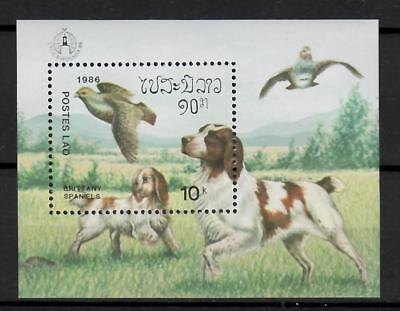 (W1247) LAOS, 1986, DOGS, BL. 202, MNH/UM, SEE SCAN