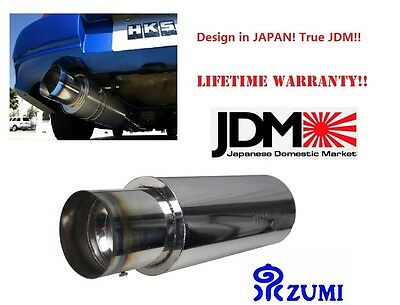 "IZUMI JDM  4"" Stainless Steel Burnt Tip Muffler Exhaust Silencer 2.5"" INLET N1"