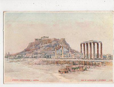 Vue d'Acropole Athens Greece Vintage Postcard 833a