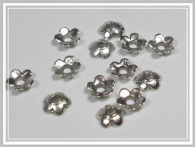 20 kleine Perlenkappen Blumen antik silber Perlkappen 6,5mm