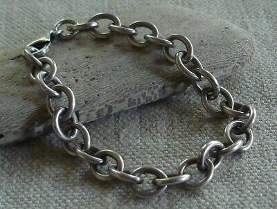Heavy Sterling Silver Oval Link Cable Chain Bracelet 7 1/2