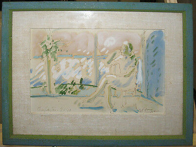 Abbott Pattison '71 Modernist WC of Sitting Woman Important Chicago Artist