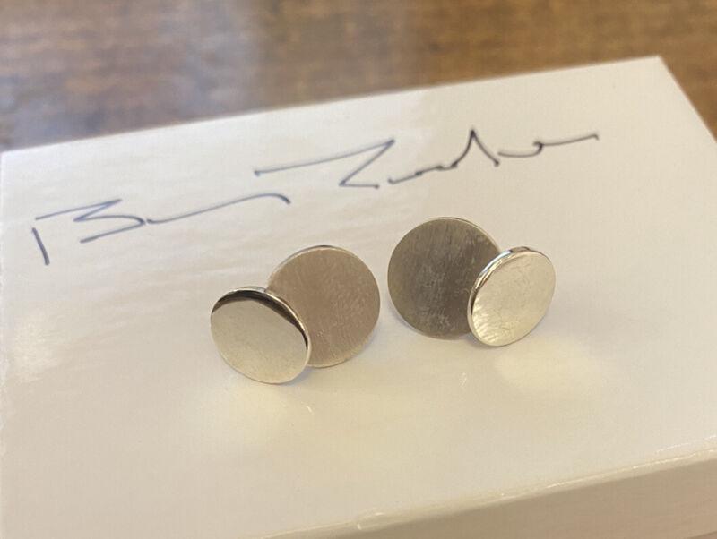 Estate BETTY COOKE double Sterling Silver Modernist DISCS EARRINGS, ESTATE FIND