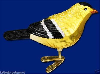 AMERICAN GOLDFINCH OLD WORLD CHRISTMAS GLASS CLIP ON BIRD ORNAMENT NWT 18045