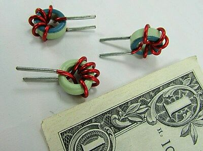 10 Small Vertical Mounted Inductors Toroid Chokes Coils 5 Turns Of 16 Awg Wire