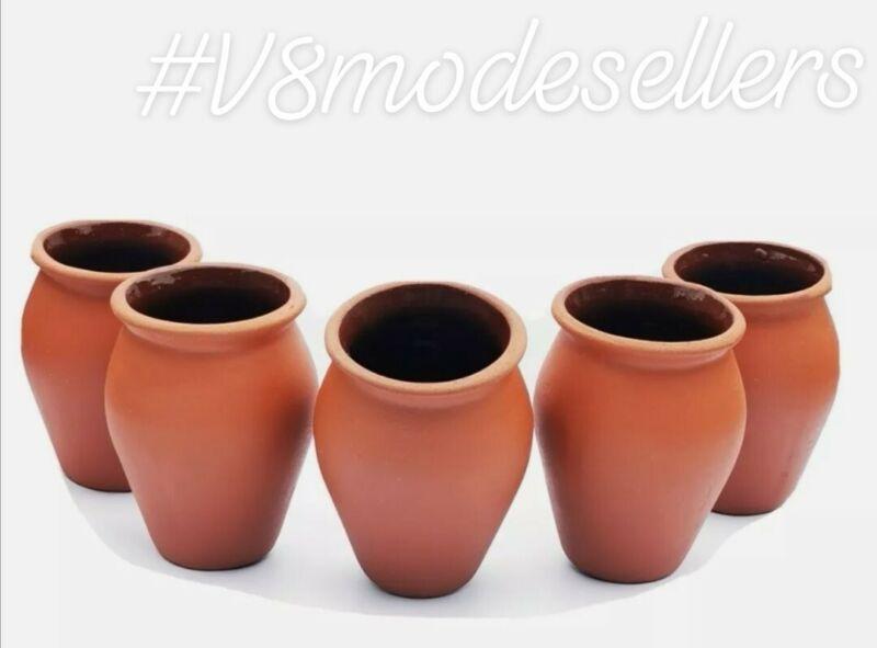Glazed Jarritos/Cantaritos de Barro.Mexican Clay cups 5pck, The Highest Quality