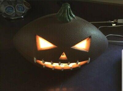 Halloween Football Shaped Pumpkin Jack-O-Lantern Foam Blow Mold Lights Up
