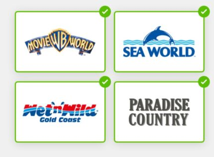 Theme parks unlimited entry Movie World etc