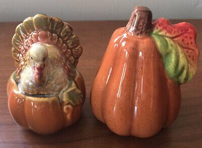 Thanksgiving Salt & Pepper Shakers Turkey & Pumpkin Glazed Ceramic Cute.
