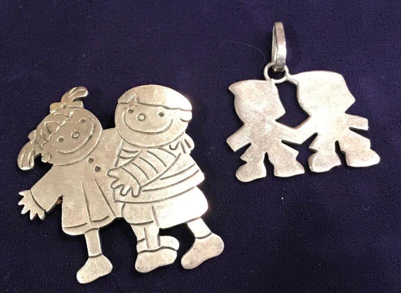 Lot of 2 Kids Friends Boy Girl Themed Sterling Silver 925 Jewelry Pin Pendants