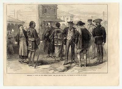 Japan-Kleidung-alte und neue Zeit-Asien Holzstich 1873