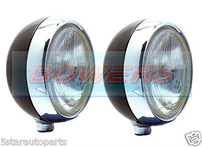 """PAIR OF STAINLESS STEEL 7"""" INCH CIBIE OSCAR H4 DIPPED/FULL DRIVING LIGHTS LAMPS"""