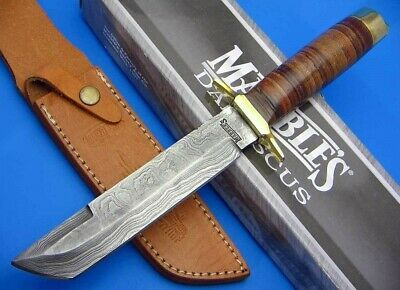 Marbles Tanto Damascus Steel Fixed Blade Stacked Leather Handle Knife + Sheath