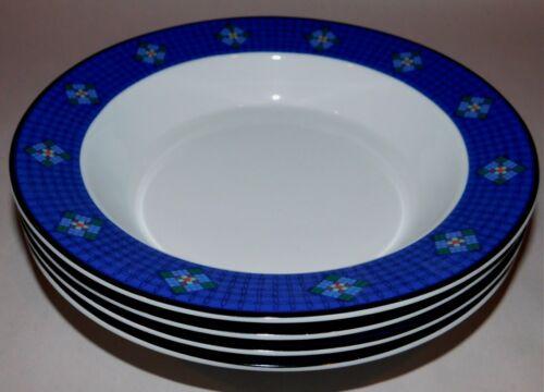 Set of 4 DANSK QUILTINGS DINNERWARE Nine Patch RIMMED SOUP BOWLS Portugal