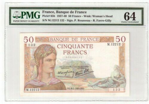 France 50 Francs Banknote 1940 Pick# 85b PMG Choice UNC 64
