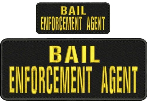 Bail ENFORCEMENT Agent embroidery patches 4x10 and 2x5 hook on back