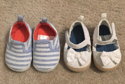 2 Pair Shoes Infant Baby Girl Size 0-3 Months Gently Used/Good Condition!