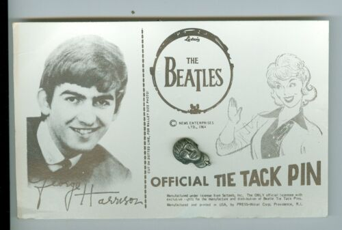 George Harrison The Beatles 1964 Official Tie Tack Pin on Card Nems Seltaeb Inc