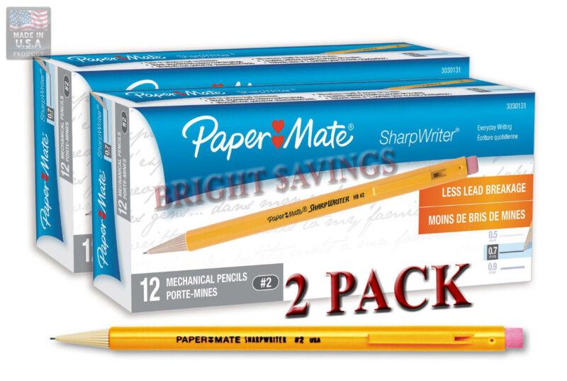 Paper Mate Sharpwriter Mechanical Pencil, HB, 0.70 mm, Yellow Barrel - 2 Pack