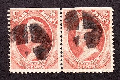 US O91 24c War Department Used Pair w/ Fancy Cancels