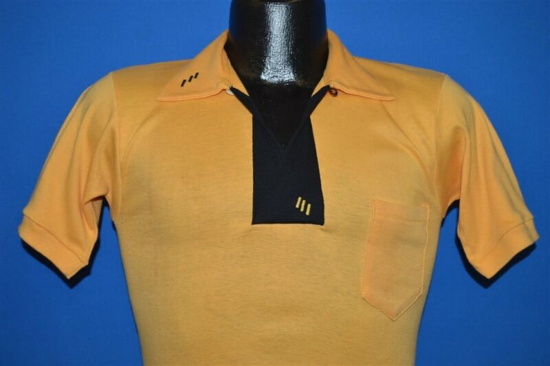 vintage 70s CHAISON SPORTSWEAR YELLOW BLACK SKINNY FIT POLO SHIRT SMALL S