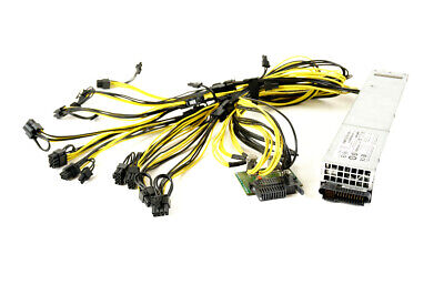 Power-One 1100W Server PSU w/ Breakout Board + Cables