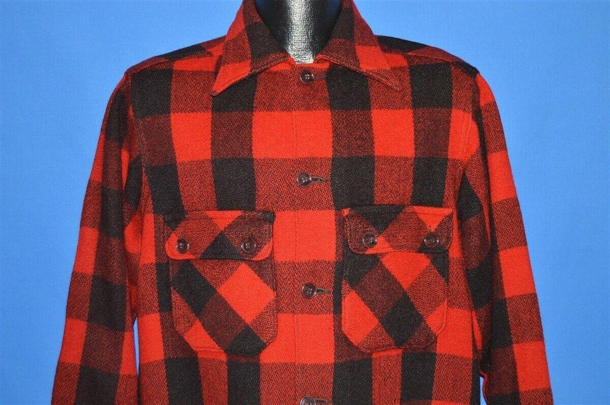 7979de999082b Details about vintage 40s WOOL BLACK RED CHECKERED BUFFALO PLAID HUNT SPORT  JAC SHIRT JACKET L