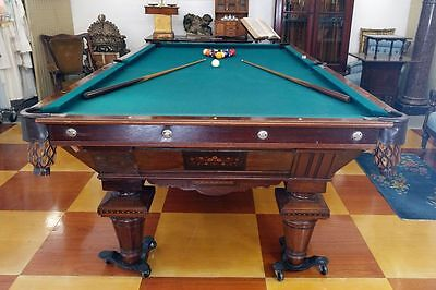 Antique c.1880 J.E. CAME & CO. Rosewood Billiard Table 9' Aesthetic Movement