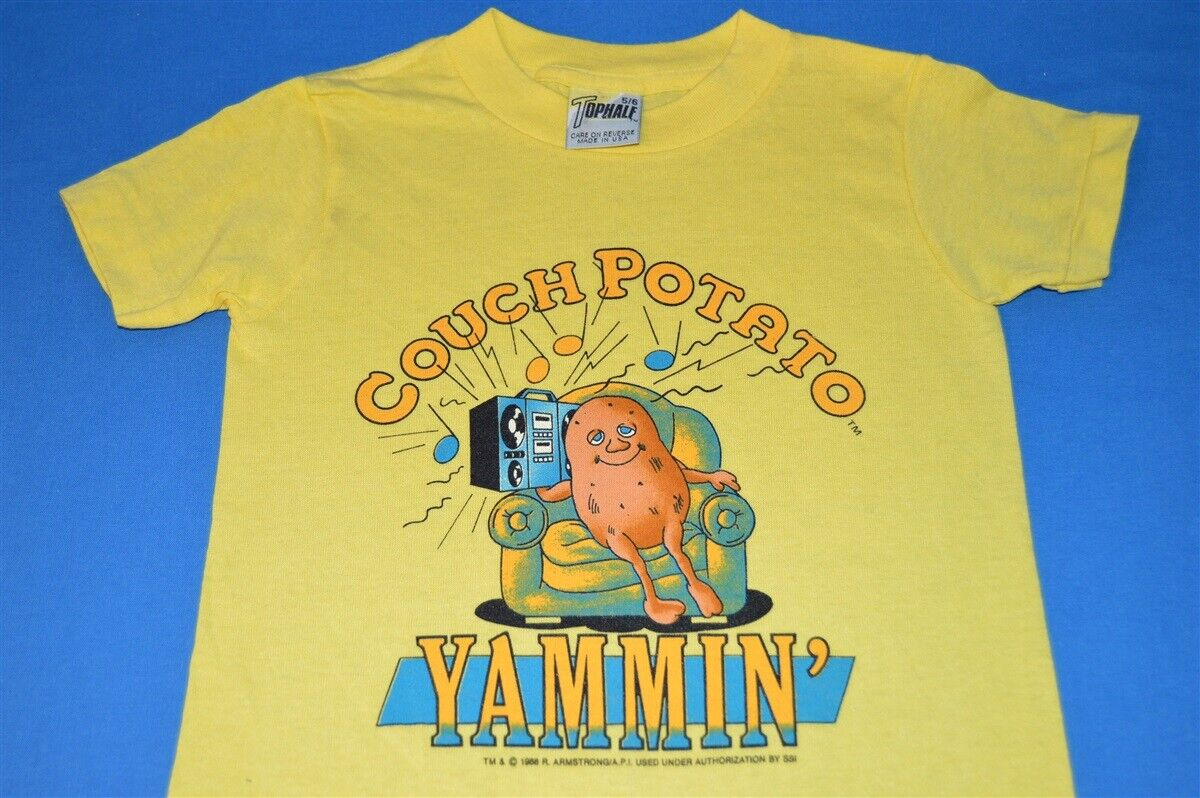 b29081102c Details about vintage 80s COUCH POTATO HALF WE RE YAMMIN JAMMIN YELLOW  t-shirt YOUTH KIDS 5 6