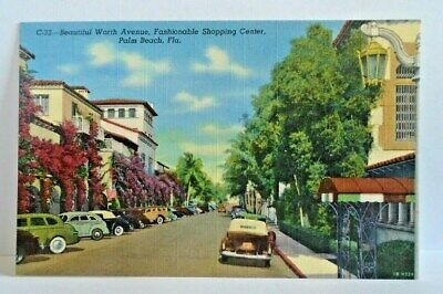 C-32 WORTH AVENUE, PALM BEACH, FLORIDA POSTCARD (Palm Beach Florida Worth Avenue)