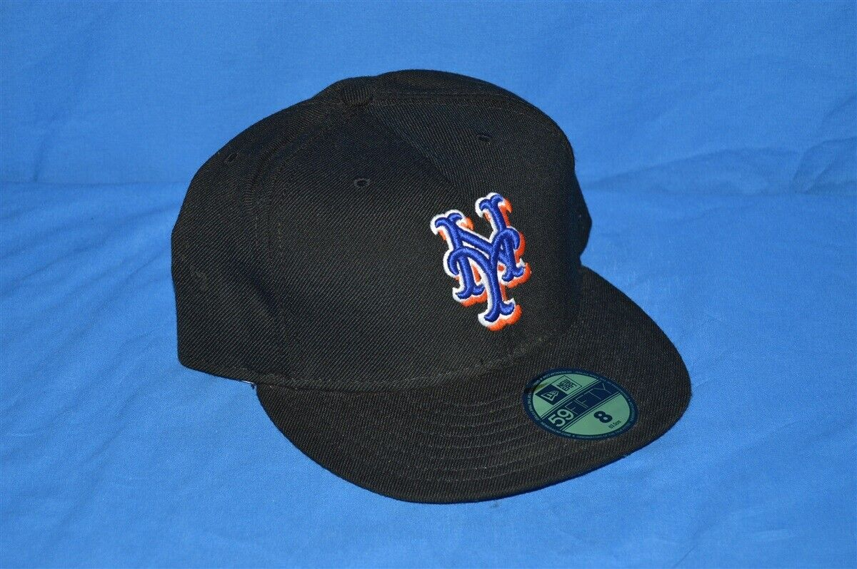 new product fe439 05129 Details about NWT NEW YORK METS NEW ERA FITTED HAT CAP SZ 8 BLACK 100% WOOL  USA MADE GRAY BRIM