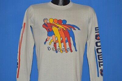 Soccer Rainbow Kick (vtg 80s SOCCER RAINBOW GRAY LONG SLEEVE KICKING SPORTS t-shirt YOUTH SMALL)
