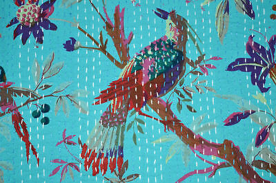 Kantha Quilt Blanket Indian Cotton Handmade Antique Gudari King Size Bird Blue
