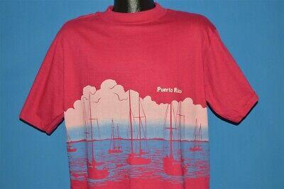 vintage 80s PUERTO RICO TOURIST WRAPAROUND SAILBOATS OCEAN PINK t-shirt XL