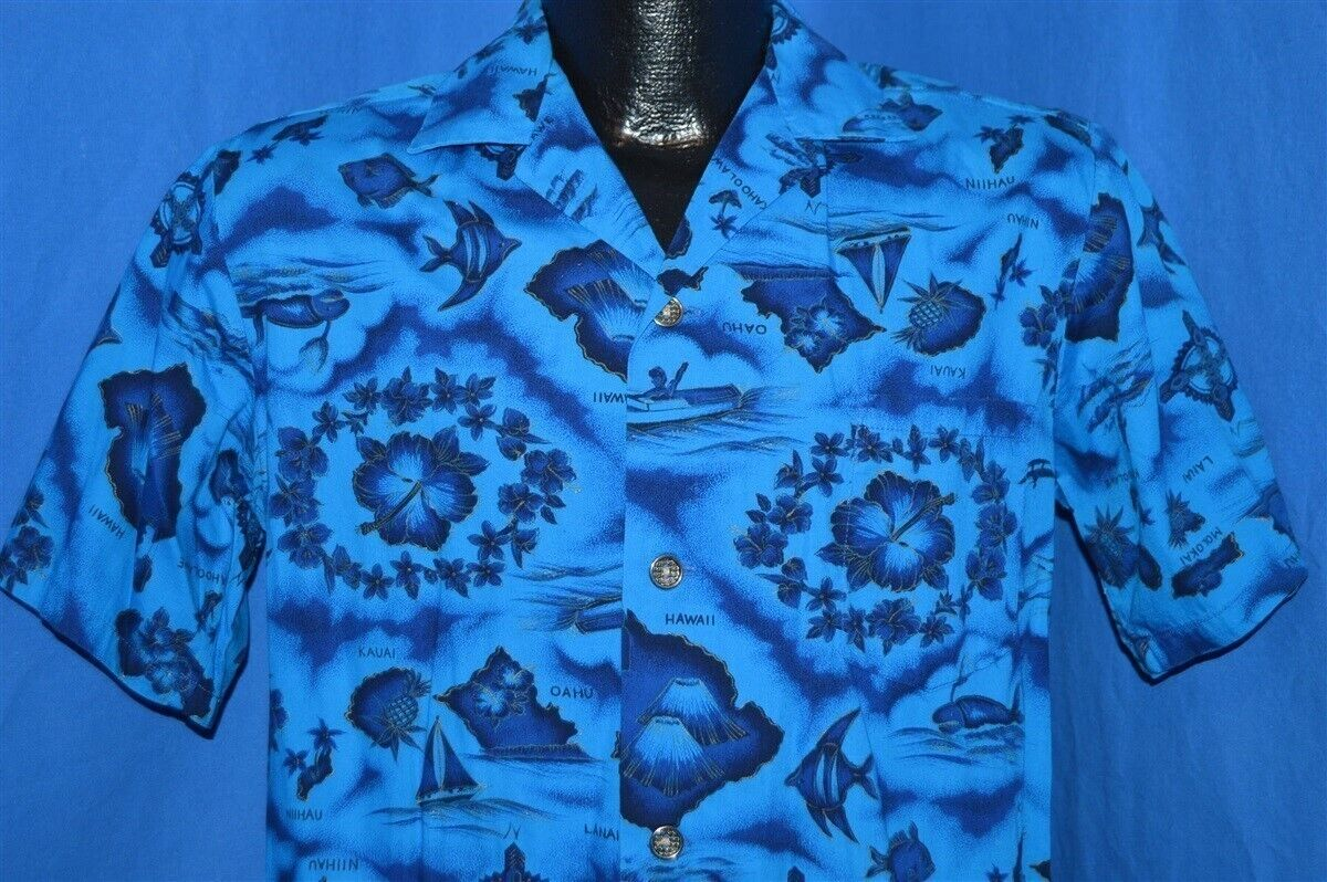 c1a04256 Details about vintage 60s UI MAIKAI BLUE HIBISCUS SAILBOAT NAUTICAL ALOHA  HAWAIIAN SHIRT S