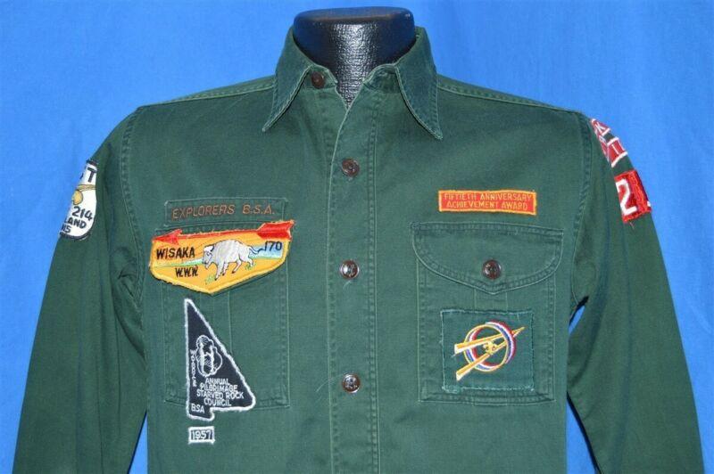 vintage 50s BOY SCOUTS EXPLORER BSA ROCK ISLAND 214 WISAKA 170 UNIFORM SHIRT M