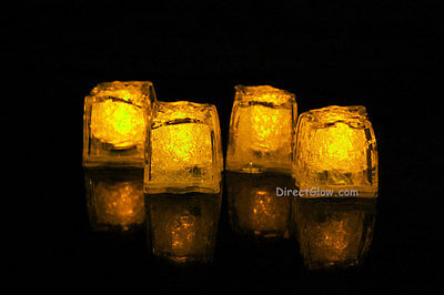 Led Icecubes (Set of 4 Litecubes Jewel Color Tinted Topaz Yellow Light up LED Ice)