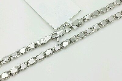 "14k Solid White Gold Heart Link Anklet Chain 10"" 2.9mm Women"