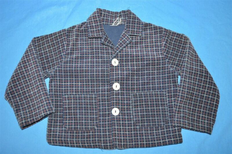 vintage 70s PLAID CORDUROY SPORT COAT SUIT JACKET BLUE RED TODDLER 2T