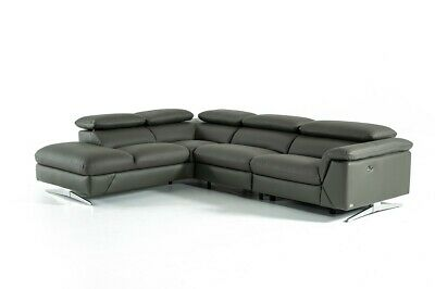 Modern Dark or light Grey Leather Sectional Sofa 3pc set w/ Recliner #V174188 Dining Room Set Recliner