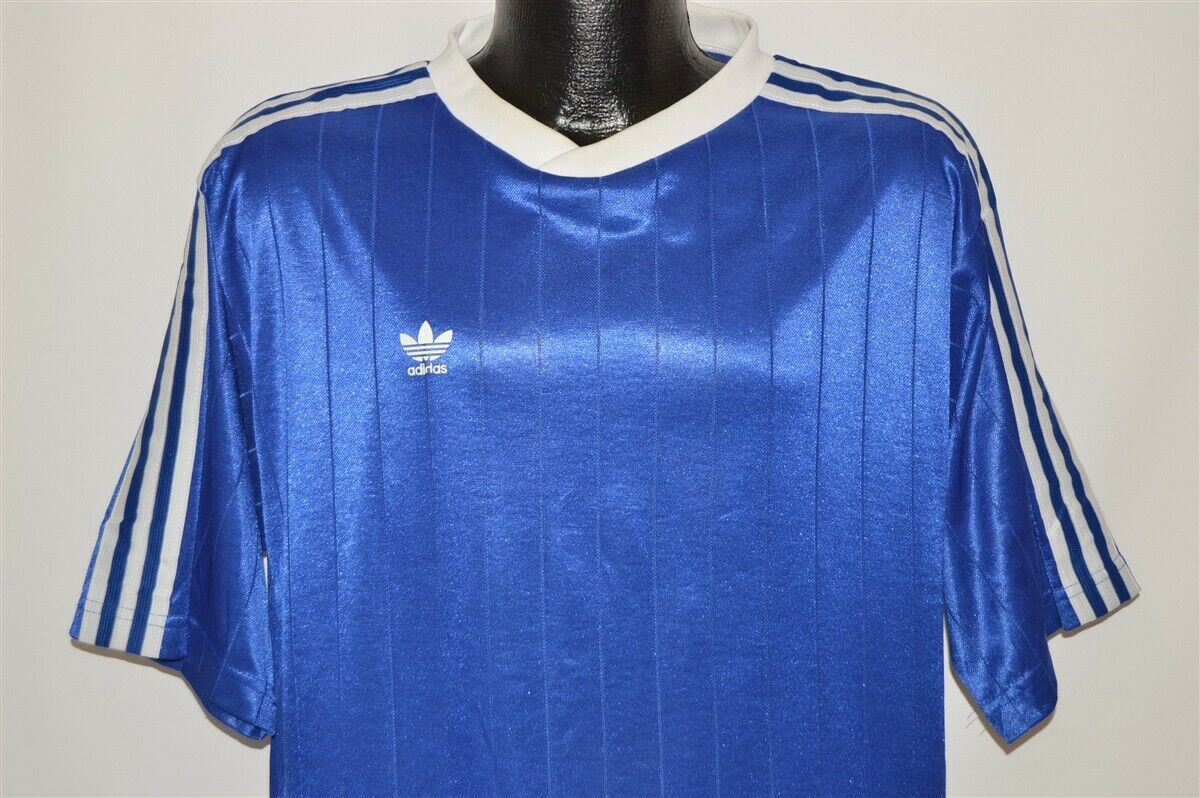 f70e4bfabd1b6 Details about vintage 90s ADIDAS BLUE WHITE STRIPED SOCCER JERSEY FOOTBALL  TREFOIL t-shirt XL